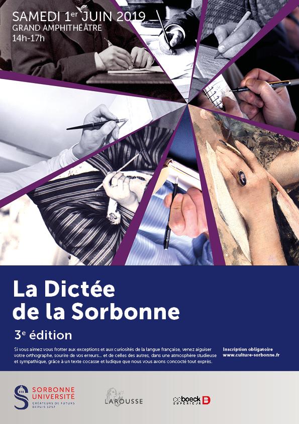 Affiche de la 3ème édition de la dictée de la Sorbonne. Photos de mains en train d'écrire, à différentes époques. Mélange de photos en noir et blanc et en couleurs.