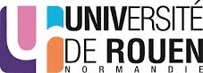 Logo de l'université de Rouen, stylisé et coloré : blanc, noir, bleu, rose et orange.