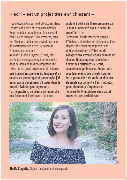Article conjoint Le Maine Libre et Ouest France présentant écri+ par le regard d'Elodie Clayette, doctorante et enseignante à LMU