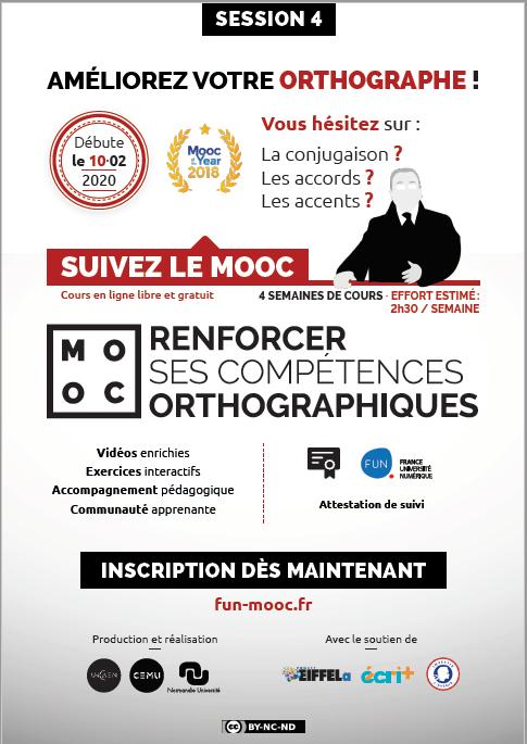 """flyer annonçant la quatrième session du MOOC """"Renforcer ses compétences orthographiques"""""""